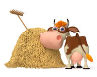3d illustration the cow costs near a haystack Stock Images