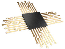 3d illustration of cpu chip central processor unit with contacts royalty free illustration