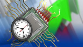 3d clock. 3d illustration of cpu over arrows graph background with clock Stock Photo
