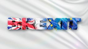 3D illustration of cracked Brexit concept with white flag and 3d text vector illustration