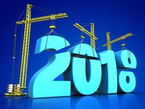 3d blue 2018 new year sign. 3d illustration of cranes building blue 2018 new year sign over blue background Stock Image