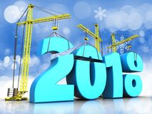 3d blue 2018 new year sign. 3d illustration of cranes building blue 2018 new year sign over snow background Stock Images