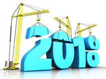 3d blue 2018 new year sign. 3d illustration of cranes building blue 2018 new year sign over white background Stock Images