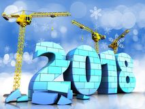 3d blue 2018 year with bricks. 3d illustration of cranes building blue 2018 year with bricks over snow background Royalty Free Stock Images