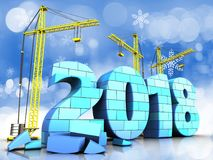 3d blue 2018 year with bricks. 3d illustration of cranes building blue 2018 year with bricks over snow background Royalty Free Stock Image