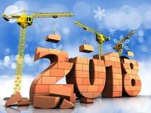 3d bricks 2018 text. 3d illustration of cranes building bricks 2018 text over snow background Stock Photos
