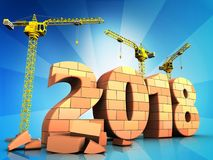 3d bricks 2018 year sign. 3d illustration of cranes building bricks 2018 year sign over  background Stock Photography