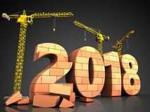 3d bricks 2018 year sign. 3d illustration of cranes building bricks 2018 year sign over black background Stock Photos