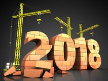 3d bricks 2018 year sign. 3d illustration of cranes building bricks 2018 year sign over black background Stock Photography
