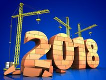3d bricks 2018 year sign. 3d illustration of cranes building bricks 2018 year sign over blue background Royalty Free Stock Image