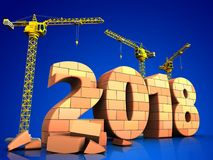 3d bricks 2018 year sign. 3d illustration of cranes building bricks 2018 year sign over blue background Stock Image