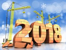 3d bricks 2018 year sign. 3d illustration of cranes building bricks 2018 year sign over snow background Royalty Free Stock Image