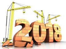 3d bricks 2018 year sign. 3d illustration of cranes building bricks 2018 year sign over white background Royalty Free Stock Images