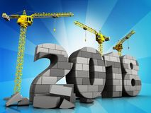 3d gray brick 2018 year. 3d illustration of cranes building gray brick 2018 year over  background Stock Photography