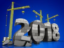 3d gray brick 2018 year. 3d illustration of cranes building gray brick 2018 year over blue background Royalty Free Stock Image