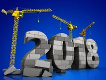 3d gray brick 2018 year. 3d illustration of cranes building gray brick 2018 year over blue background Royalty Free Stock Images