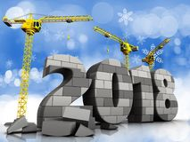 3d gray brick 2018 year. 3d illustration of cranes building gray brick 2018 year over snow background Stock Photography