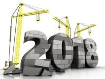 3d gray brick 2018 year. 3d illustration of cranes building gray brick 2018 year over white background Royalty Free Stock Images