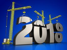 3d metal 2018 year sign. 3d illustration of cranes building metal 2018 year sign over blue background Royalty Free Stock Photo