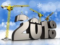 3d metal 2018 year sign. 3d illustration of cranes building metal 2018 year sign over snow background Royalty Free Stock Images