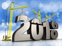 3d metal 2018 year sign. 3d illustration of cranes building metal 2018 year sign over snow background Royalty Free Stock Photo