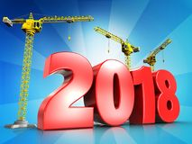 3d red 2018 year Stock Image