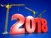 3d red 2018 year Stock Photos