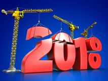 3d red 2018 year sign. 3d illustration of cranes building red 2018 year sign over blue background Royalty Free Stock Images