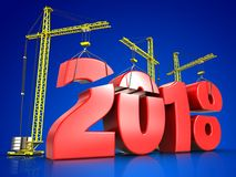3d red 2018 year sign. 3d illustration of cranes building red 2018 year sign over blue background Royalty Free Stock Image