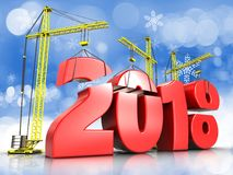 3d red 2018 year sign. 3d illustration of cranes building red 2018 year sign over snow background Royalty Free Stock Photo