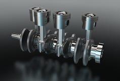 3d illustration of crankshaft with engine pistons Stock Photo