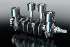 3d illustration of crankshaft with engine pistons Royalty Free Stock Photos