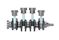 3d illustration of crankshaft with engine pistons Stock Images