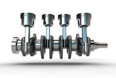 3d illustration of crankshaft with engine pistons Stock Photos