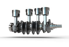 3d illustration of crankshaft with engine pistons Stock Image