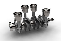 3d illustration of crankshaft with engine pistons Stock Photography