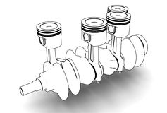 3d illustration of crankshaft with engine pistons Royalty Free Stock Images