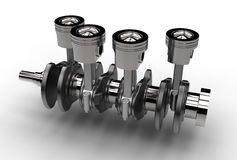 3d illustration of crankshaft with engine pistons. Isolated on white Royalty Free Stock Photography