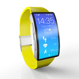 3d illustration. Creative business, and mobile devices: smart watch with a bright display  on white with reflection effect Royalty Free Stock Image