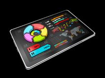 3D Illustration of Creative colorful pie chart on the tablet, business concept, isolated black.  Royalty Free Stock Photos