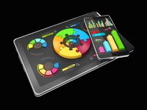 3D Illustration of Creative colorful pie chart on the tablet, business concept, isolated black.  Stock Photography