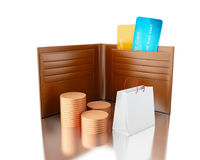 3d illustration. Credit cards in wallet with bag and stacks of c Royalty Free Stock Image