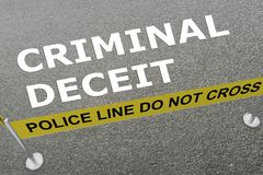 CRIMINAL DECEIT concept. 3D illustration of CRIMINAL DECEIT title on the ground in a police arena Stock Photos