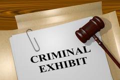Criminal Exhibit concept. 3D illustration of CRIMINAL EXHIBIT title on legal document Stock Photography