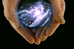 3D illustration Crystal Ball Universe Arkivfoto