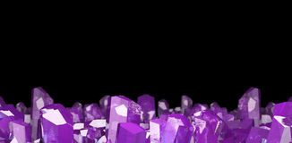 3D illustration of crystal stone macro mineral. Amethyst quartz crystals on black background. Stock Images