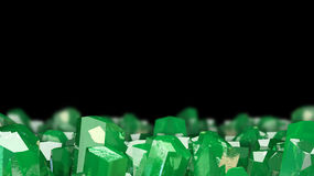 3D illustration of crystal stone macro mineral. Emerald crystals on black background. Crystal stone macro mineral. Emerald crystals on black background. 3D Royalty Free Stock Image