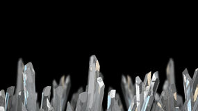 3D illustration of crystal stone macro mineral. Quartz crystals on black background. Crystal stone macro mineral. Quartz crystals on black background. 3D Royalty Free Stock Photos
