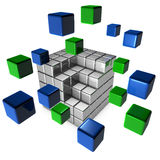 3d illustration of cube assembling from blocks Stock Images