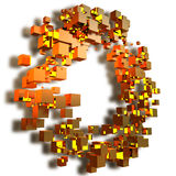 3d illustration of cubes golden randomly arranged on the ring. S Royalty Free Stock Photography